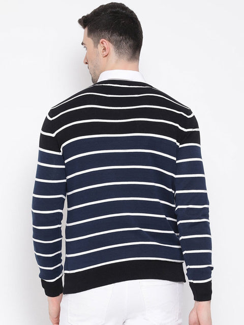Black & White Stripped Sweater back view