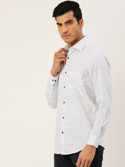 White Printed Regular Fit Club wear Shirt