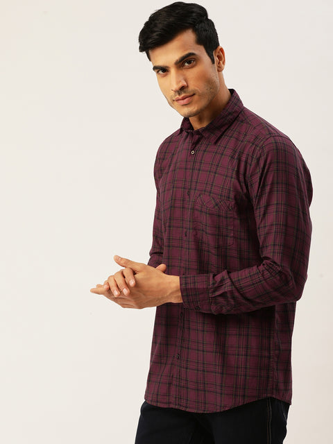 Maroon Green Slim Fit Casual Shirt