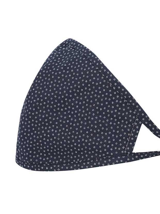 Navy Oval Shape Printed Mask