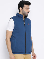 Regular Fit Blue & Black Reversible Half Sleeve Jacket
