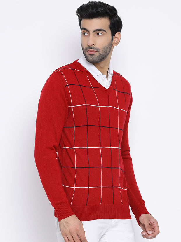 Red V-Neck Casual Sweater