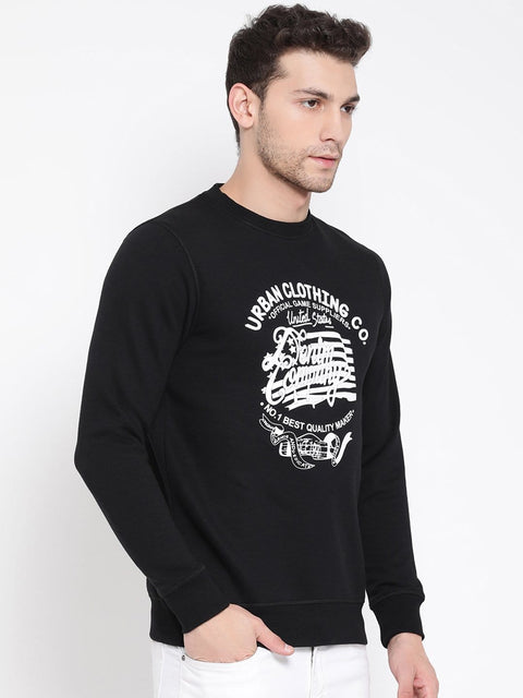 Round Neck Black Printed Sweatshirt