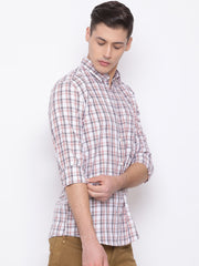 White Red Slim Fit Casual Shirt