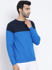 Navy Blue Round Neck Casual Sweater