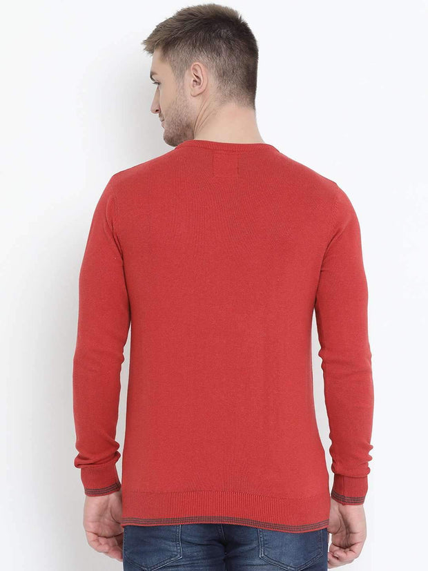 Red Milange Sweater back view