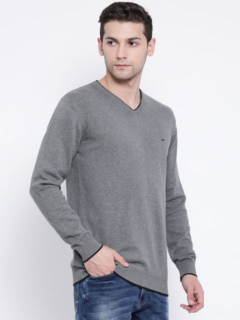 Grey V-Neck Sweater by richlook
