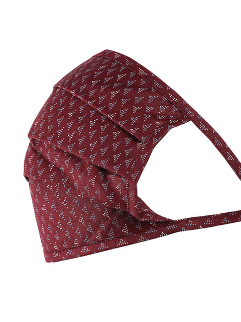 Maroon Square Shape Printed Mask