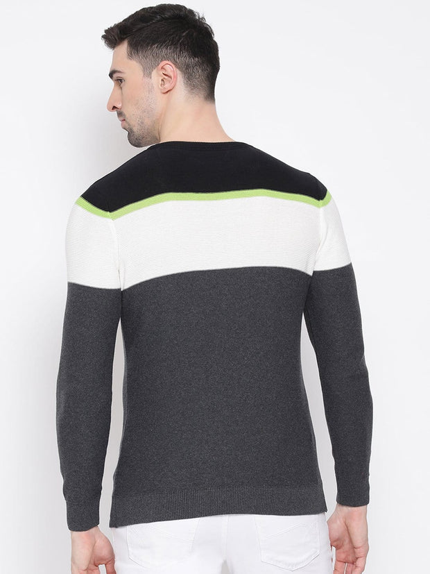 Black Grey & White Stripped Sweater back view
