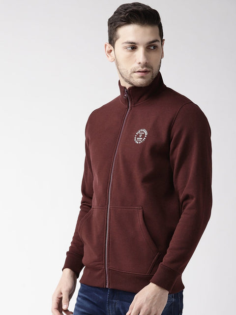 Wine Solid Zipper Sweatshirt side view