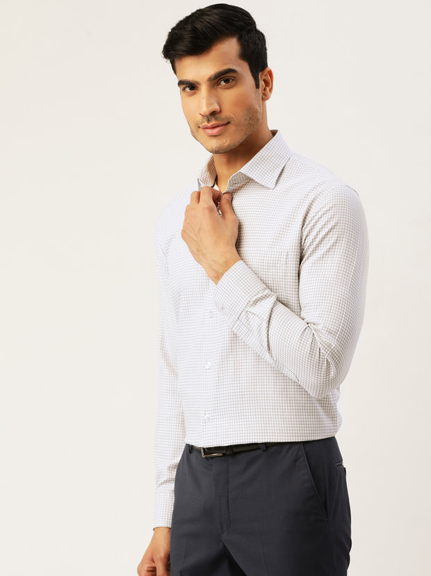 White and Black Formal Regular Fit Shirt