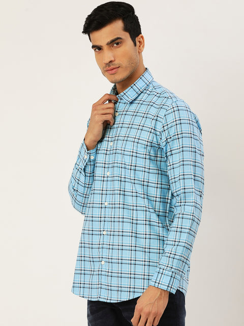 Turquoise Blue Slim Fit Casual Shirt