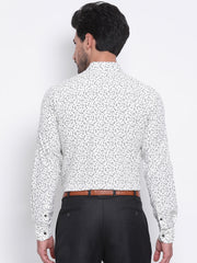 Men Cream Slim Fit Printed Club Wear Shirt