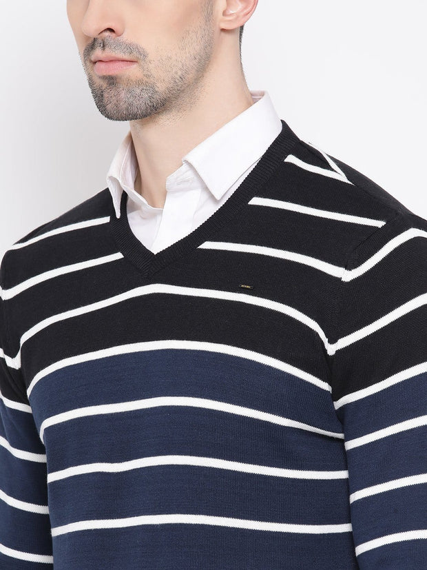 Black & White Stripped Sweater close view