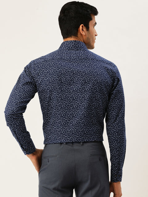 Navy Printed Regular Fit Club wear Shirt