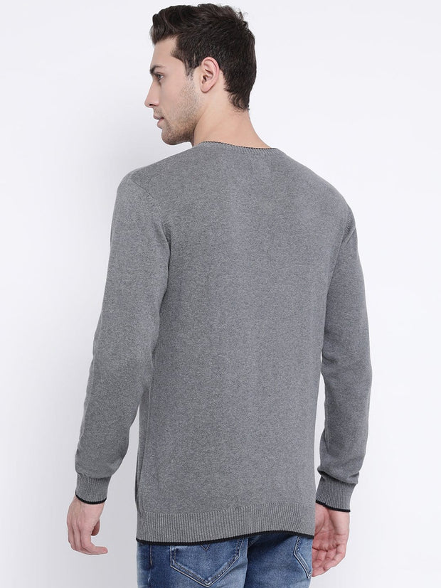 Grey V-Neck Sweater back view