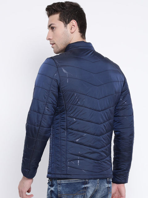 Navy Blue Casual Jacket back view