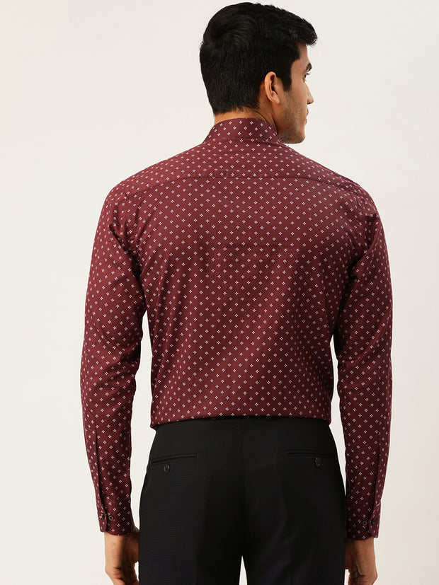Maroon Printed Regular Fit Club wear Shirt