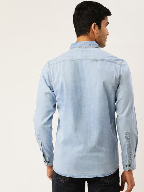 Ice Blue Slim Fit Casual Shirt