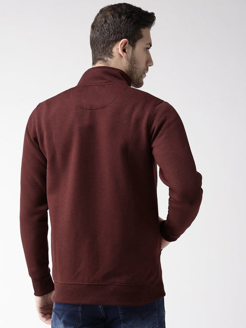 Wine Solid Zipper Sweatshirt back view