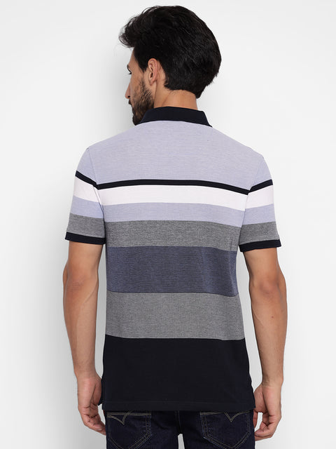 Sky Blue & Grey Regular Fit Striped Polo Neck T-Shirt