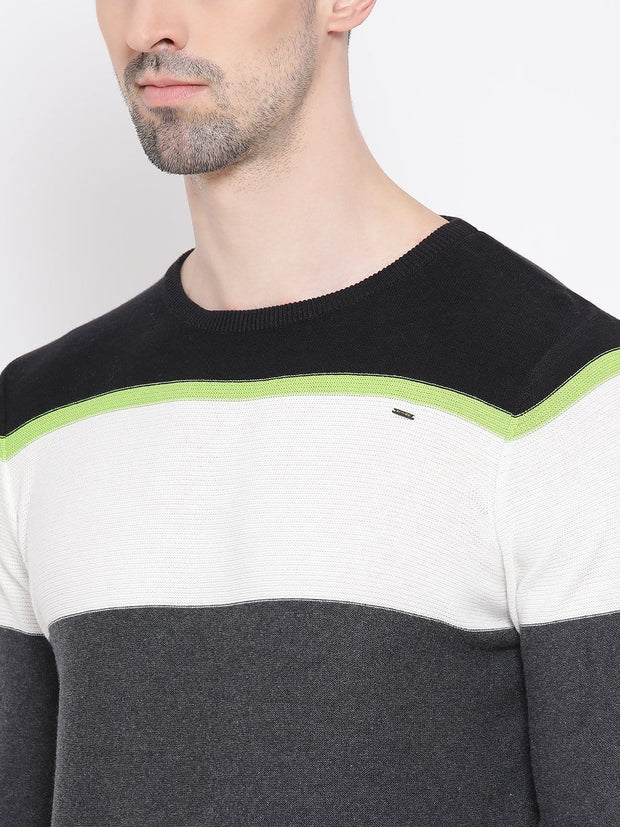 Black Grey & White Stripped Sweater close view