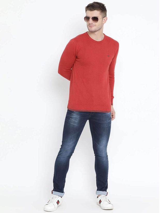 Red Milange Sweater full view