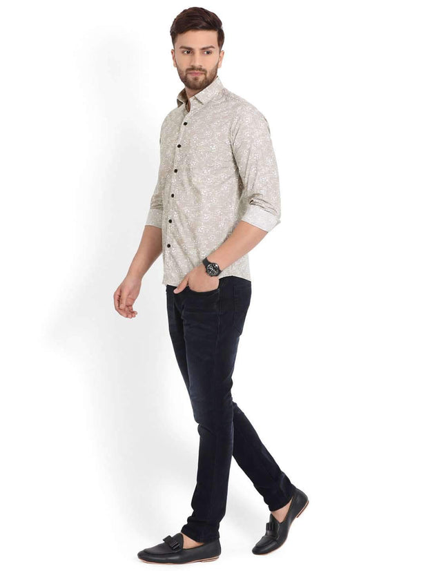 Richlook Fawn Printed Casual Shirt