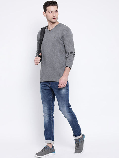 Grey V-Neck Sweater for Men