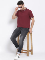 Men Wine Regular Fit Solid Polo Neck T-Shirt