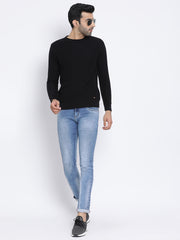 Black Round Neck Casual Sweater