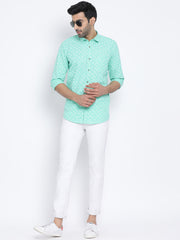 Green Slim Fit Casual Shirt