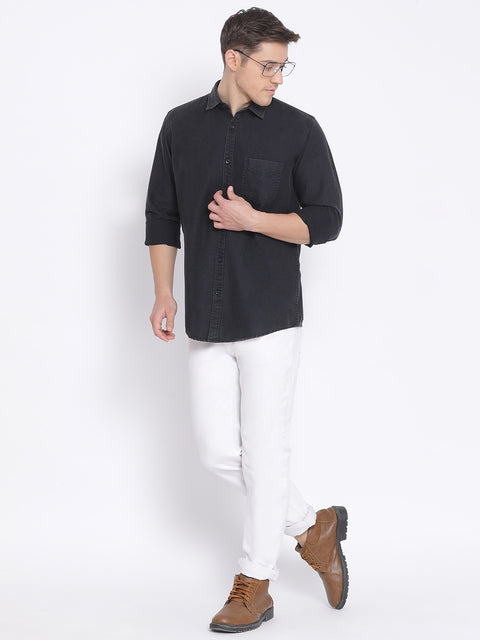Black Slim Fit Casual Shirt