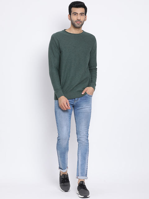 Olive Milange Round Neck Casual Sweater