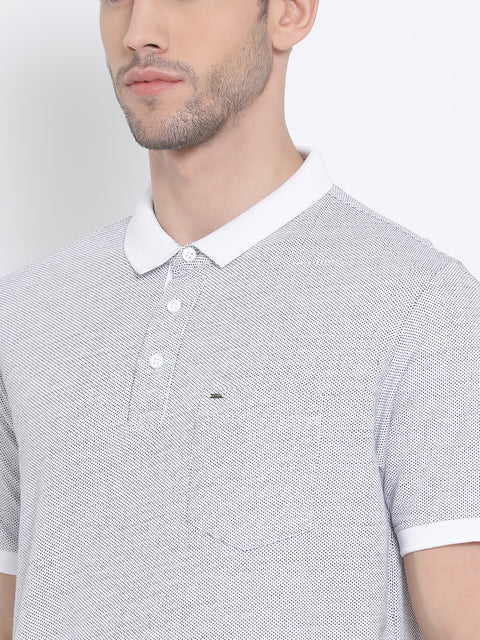 Men White Regular Fit Printed Polo Neck T-Shirt