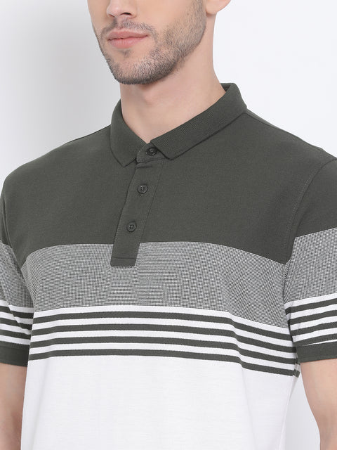 Men Olive White Regular Fit Striped Polo Neck T-Shirt