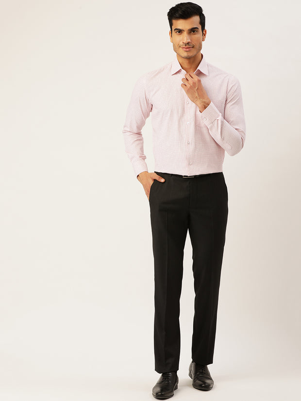 White and Red Formal Regular Fit Shirt