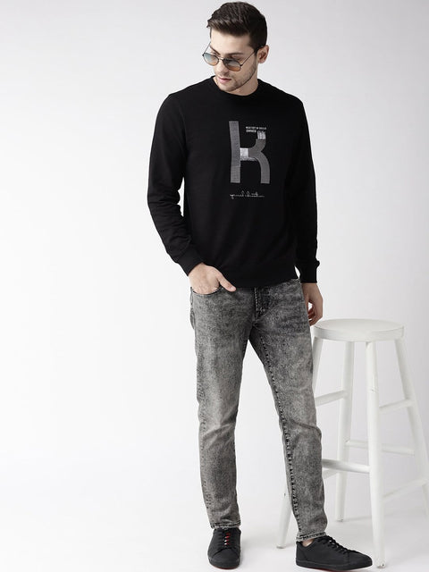Printed Black Sweatshirt for Men