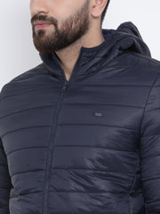 Navy Blue Casual Hooded Jacket