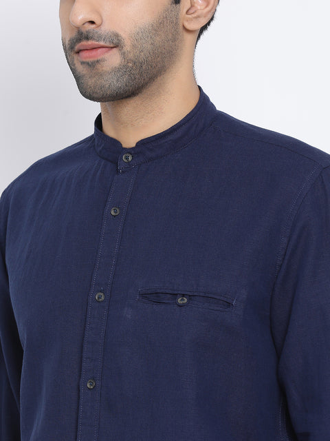 Navy Slim Fit Casual Shirt