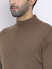 Brown Round Neck Casual Sweater
