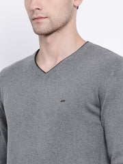 Grey V-Neck Sweater close view