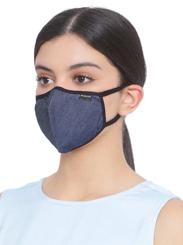 Richlook Indigo Blue Oval Shape Denim Mask