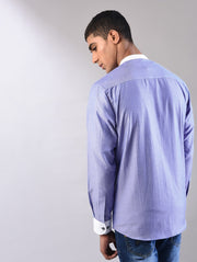 blue printed shirt back view