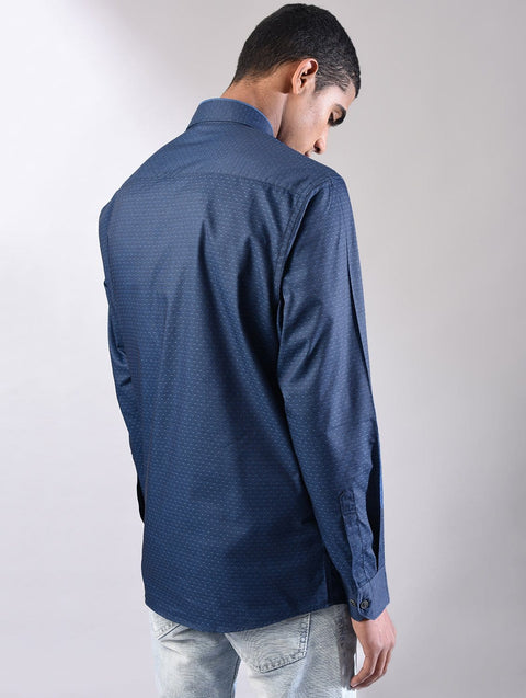 blue casual shirt side View
