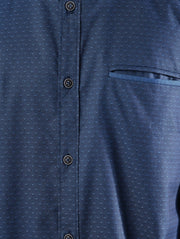 blue casual shirt close view