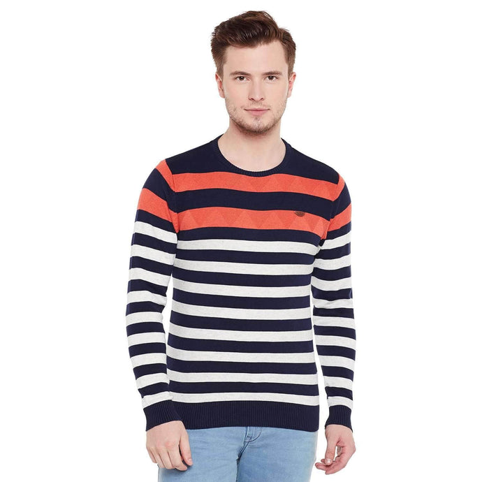 Richlook Multi Color Round Neck Sweater