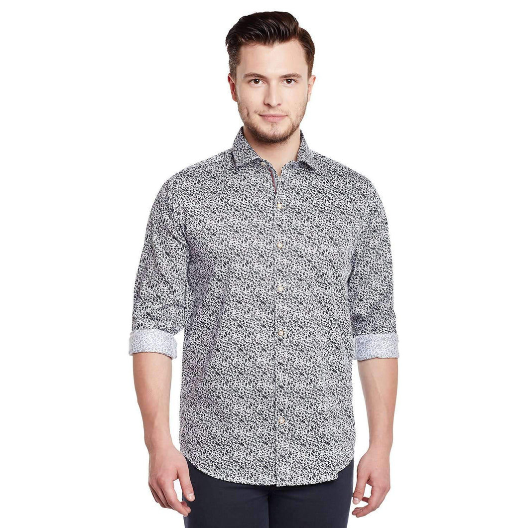 Richlook White Color Printed Casual Shirt