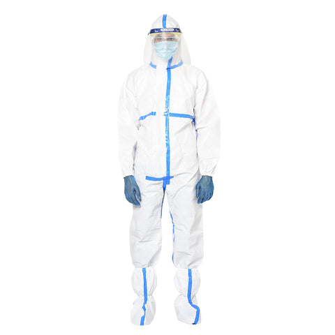 RLCARE Disposable White Coverall with Seam Tape With Faceshield- PPE