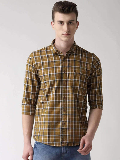 Beige Checkered Casual Shirt